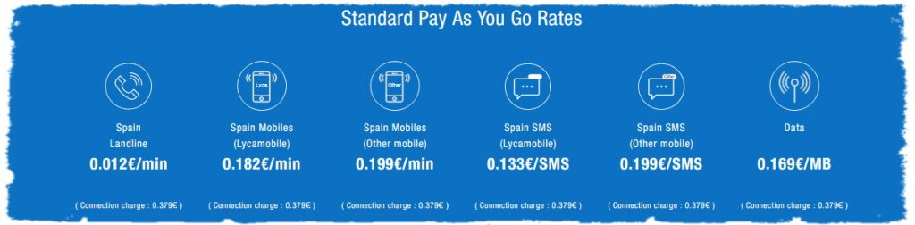 Lycamobile Standard pay as you go rates sim-cards
