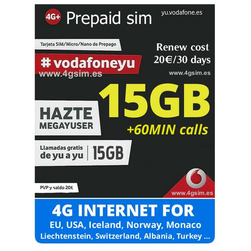 Vodafone Mega Yuser Spanish Prepaid Sim Cards 4gsim Es
