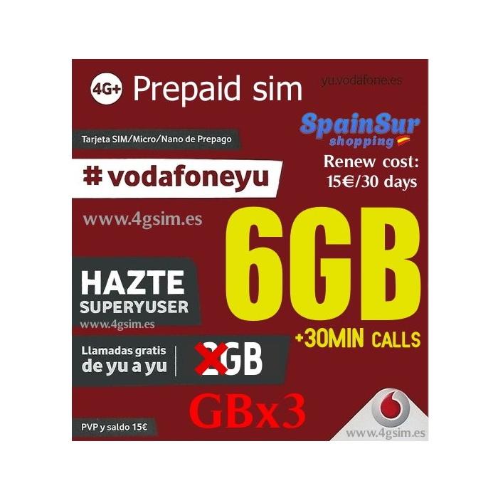 Vodafone Super Yuser 6GB for 4G internet and 30 min for calls