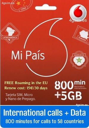 Vodafone Mi pais 7GB Internet + 800 minutes national and international  calls in Spain
