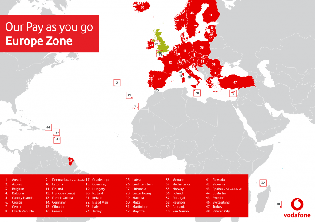 Vodafone UK GO1 prepaid sim cards for England and Europe  Credit Included:  10£
