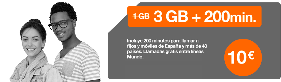 Orange Tu Mundo Mini 3GB Internet + 200 minutes national and international  calls in Spain