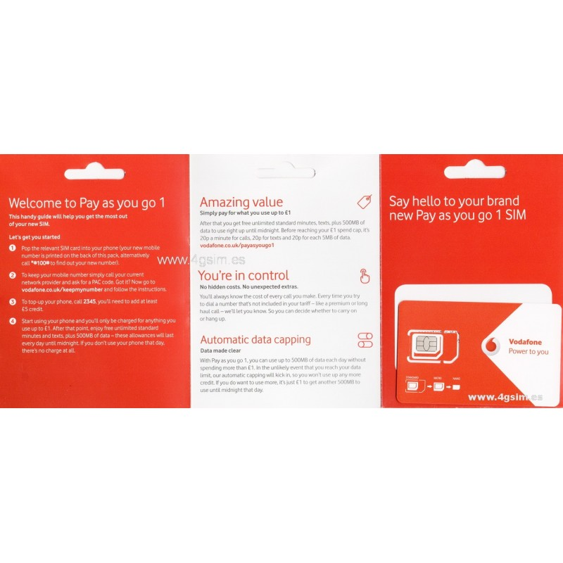 Vodafone UK Go1 BLANK SIM - for England and Europe ...