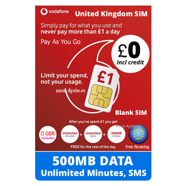 Vodafone UK GO1 Blank prepaid sim cards for England and Europe  Credit  Included: 0£
