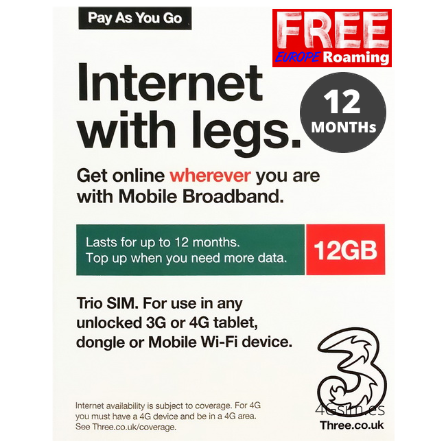 Three UK prepaid sim 12GB Data lasts for 12 months (INTERNET FOR ALL EUROPE)