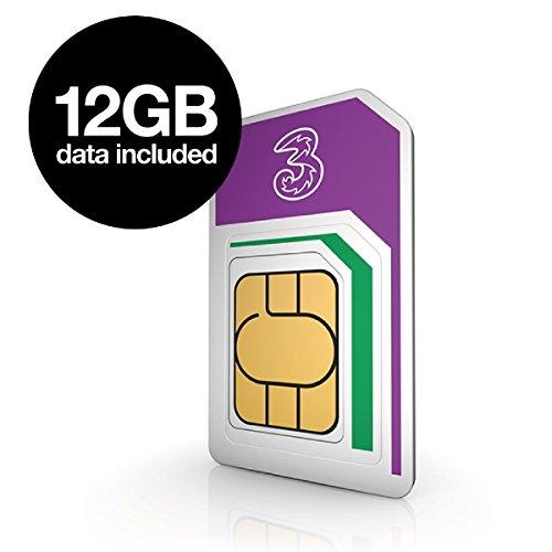 three uk 12gb data for 12 months prepaid 4g datasim  4gsimes